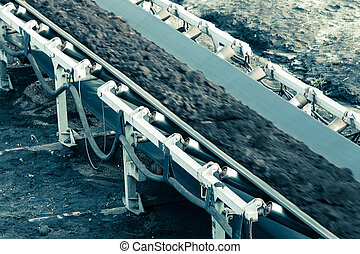 Opencast brown coal mine. Belt conveyor. - Open pit....