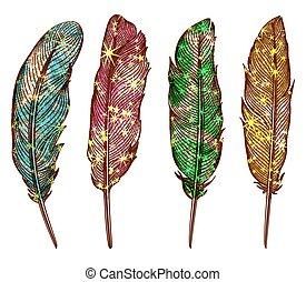 Set of isolated shining feathers, metallic effect. Vector,...