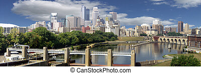 Minneapolis Skyine - Mississippi River Scenic