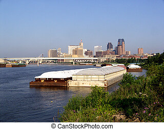 Barges on Near St Paul, MN - Mississippi River Scenic...