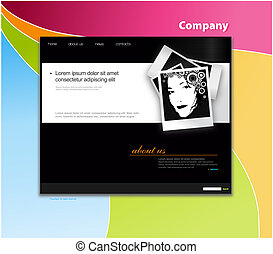 Website template with colored background.