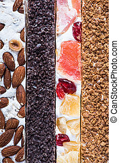 Traditional italian nougat bars, overhead, food background