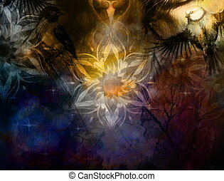 Titmouse bird and golden mandala, ornament background and...