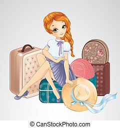 Redhair Girl Sitting On Suitcases - Cute illustration of...