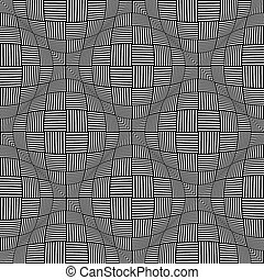 Seamless twisting checked pattern. Vector art.