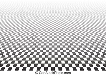 Geometric checked background.