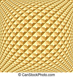 Golden checked relief pattern. Textured background. - Golden...
