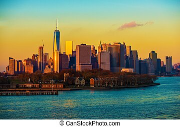 New York City Skyline Sunset - New York City at Skyline...