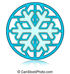 Winter Season Icy Blue Icon over white Background