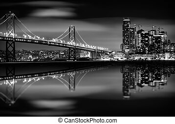 The San Francisco Bay at Night in Black and White. Bay...