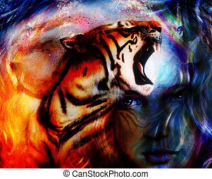 painting mighty tiger head on ornamental background and...