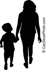 girl and boy walking, silhouette