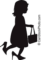 cute girl wearing her mom's shoes and bag