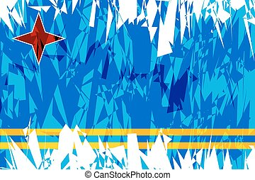 Flag of Aruba - Flag of Aruba in grunge style Vector...