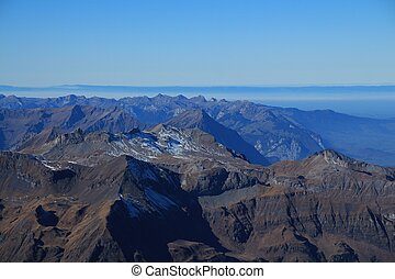 Mountain ranges in the Bernese Oberland, view from...