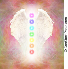 Reiki Angel Wings and Chakras - Bright Angel wings and seven...
