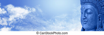Buddha on blue sky website header - Wide blue sky and fluffy...