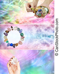 Three crystal healing banners one with a hand holding a...