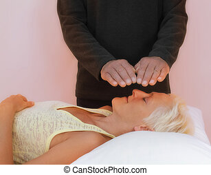 Healing session with pink energy - Male healer with parallel...
