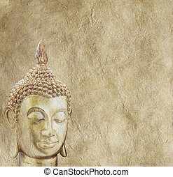 Buddha on Parchment Background - Large square of rustic...