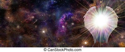 Galactic Guardian - Wide panel of deep space with a pair of...