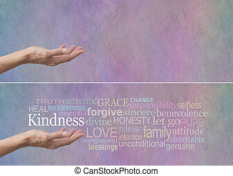 Kindness Word Cloud Banner - Female hand outstretched with...