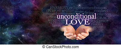 Unconditional Love Word Cloud - Female hands in cupped...