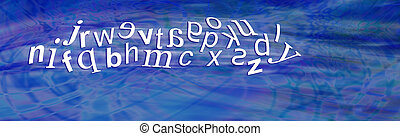 Dyslexia Alphabet with reversals - Wide blue header with a...