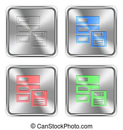 Color backup steel buttons - Color backup icons engraved in...