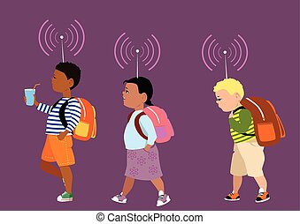 Keep Track of Your Child - Little kids marching to school...