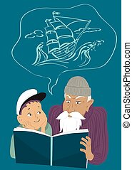 Adventure book reading - Old man reading a book to a little...