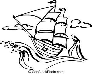 Ship clip art - Ink drawing of a sailing ship, vector...