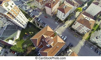 Residential housing community - Flyover shot over suburbs of...
