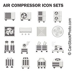 Air compressor machine - Air compressor icon sets isolated...