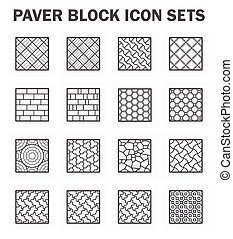 Paver block sets - Paver block and stone icon sets