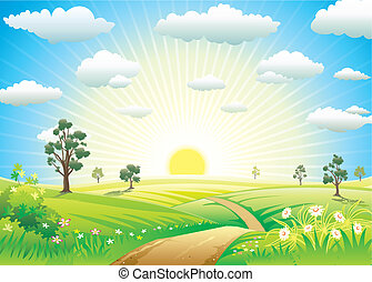 Sunny Meadow landscape of vector illustration layered
