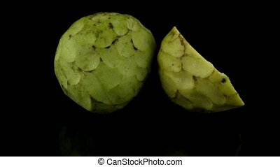 Fresh Custard Apple isolated on black background