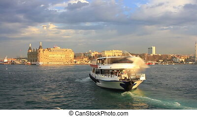 Cruise through birds in Istanbul - Ship following seagulls...