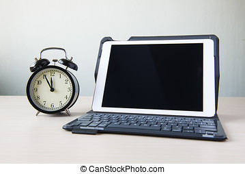 White tablet computer on white background