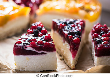 Simple mascarpone cheesecake with winter berry forest fruits