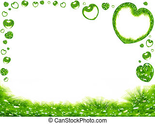 green grass and hearts border - green spring frame, grass,...