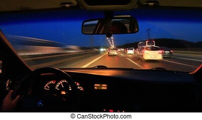 Driving on highway at night - Driving timelapse from car...