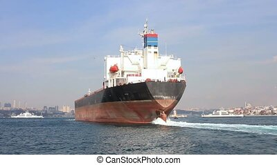 Oil tanker ship on route to the sea - Oil tanker ship on...