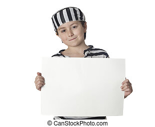 Smiled child with prisoner costume and blank poster isolated...