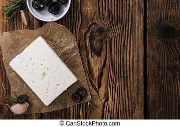 Portion of fresh cutted Feta Cheese as detailed close-up...