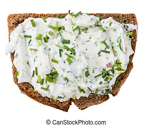 Slice of Bread with Herb Curd on white - Slice of Bread with...