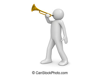 Trumpeter - 3d isolated characters on white background...