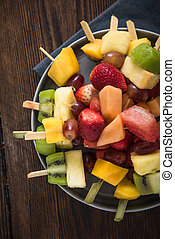 Healthy party snacks, fruit kebabs