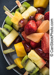 Healthy snacks, exotic fruit kebabs