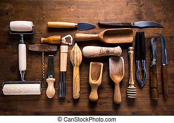 Vintage and retro kitchen untesil on wooden background, from...